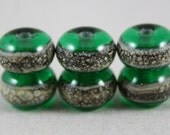 6 Emerald green beads with silver-ivory trail (Item 15610F)