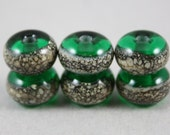 6 Emerald green beads with silver-ivory trail (Item 15612F)