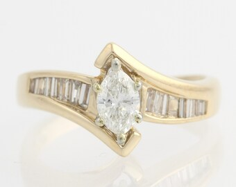 Engagement Ring Bypass Diamond - 14k Yellow & White Gold Marquise Natural .75ctw Unique Engagement Ring F6321