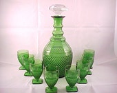 1930s Cambridge Mt. Vernon Forest Green Decanter With 8 Footed Tumblers, Rare Depression Era Glassware Bar Set, Vintage Collectible Glass