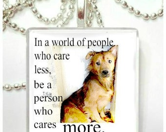 In a world of people who care less Animal Welfare Glass Pendant