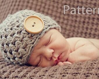 PDF CROCHET PATTERN Crochet Baby Hat, Baby Boy Hat, Newborn Beanie, Baby Boy, Button Beanie, Newborn Hat, Baby Boy Beanie, Baby Hat