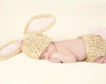 Crochet Baby Bunny Hat and Diaper Cover, Baby Newborn Hat, Newborn Beanie, Baby Bunny Hat, Bunny Beanie, Crochet Bunny Hat, Newborn Baby Hat