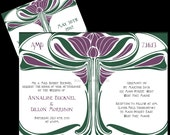 PRINTABLE Art Nouveau Tree of Love Wedding Invitation and RSVP- Digital diy Wedding Files - I set text, YOU print