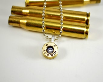 Bullet Necklace Shell Casing 308 with Crystal Swarovski Gem Pendant Necklace