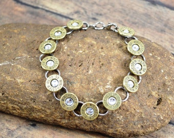 BULLET BRACELET ~ Tennis Bracelet ~ Bullet Shell Casing Bracelet ~ Winchester 45 Auto Caliber ~ Crystal Swarovski Gems