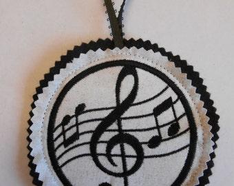 Treble Clef Ornament Christmas Ornament Embroidered Music Felt Ornament