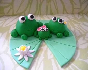 Frog Family Edible Cake Topper