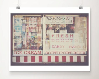 seaside photograph doughnut photograph food photograph red white stripe red wall decor coastal print england photograph english decor