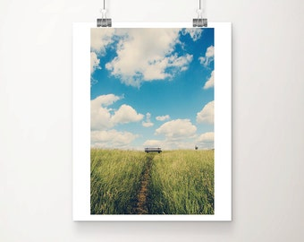 landscape photograph blue sky photograph chair photograph green grass photograph cloud photograph travel photography germany print