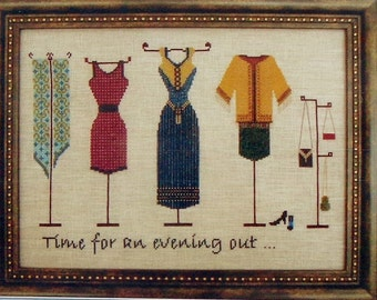 Turquoise Graphics & Designs AN EVENING OUT Clothes Clothing - Counted Cross Stitch Pattern Chart