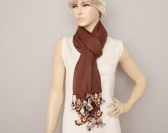 Long scarf ,Turkish oya scarf ,Hand crocheted ,gift idea ,summer scarf, brown
