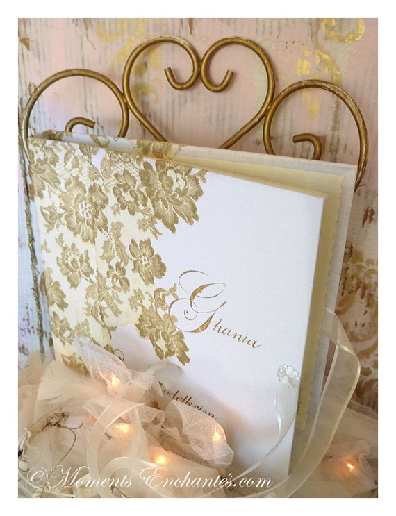 "Album photo ""Nuage de Dentelle"" lace from Le Pas de Calais french lace  with your name Personalized"