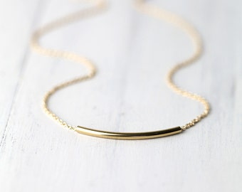 Minimalist Gold Filled Bar Necklace / Gift for Women / Curved Tube Simple Everyday Jewelry by burnish