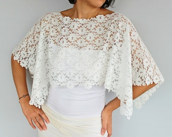 Bridal Shrug, Lace Bridal Shawl Shoulder Wrap Top Lace Capelet, Classic White Romantic Wedding  Shabby Chic