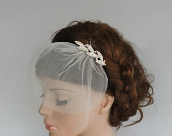 Rhinestone Headband, Mini Blusher Veil, Black Velvet Bridal Headband, Wedding Hair Accessory, Crystal Leaves, Black Velvet Bridal Headband