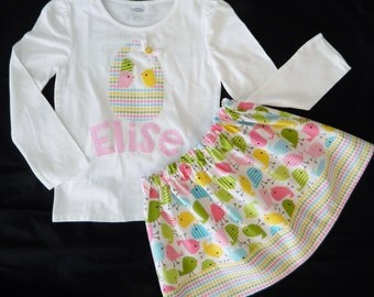 2 piece Easter holiday skirt shirt yellow, pink, blue spring chick-a-dee birds in a polka dot basket personalized name applique NB - 16