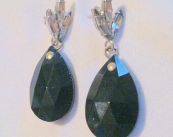 Vintage Rhinestone and Black Glass Drop Earrings