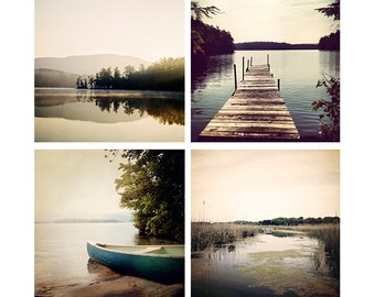 Lake Photography set, lake decor, dock photo, lake picture, lake life, canoe print, lake house, home decor print set, rustic cabin decor