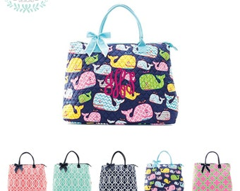 Monogram Quilted Weekend Tote / Diaper Bag/ Pool Bag/ Dance Bag