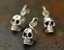 Sterling Silver Tiny Small Skull Charm - cj969, Bones and Skulls, Day of the Dead, Bone, Spiritual, Tiny Charm, Detailed Skull, Bead Charms