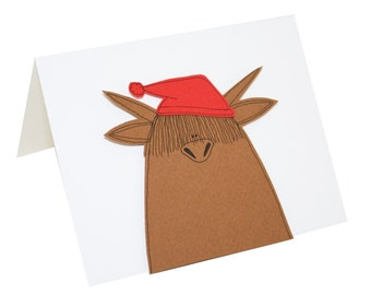 Highland Cow Christmas Card, Heilan Coo Card, Highland Cow in Red Santa Hat, Blank Christmas Card, Funny Christmas Card, Animal Card