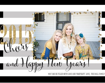 Gold Glitter Black and White Happy New Years Card/New Years Card/Personalized New Years Card/Photo Card