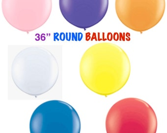 """36 inch Balloons """"Pick your Color"""" …36"""" Large Round Latex Balloons  Weddings Photo Props Birthdays Bridal Showers Baby Showers"""