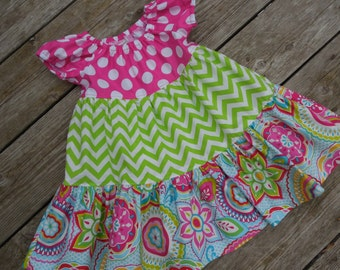 Girl's Toddlers Colorful Twirly Tiered Peasant Dress