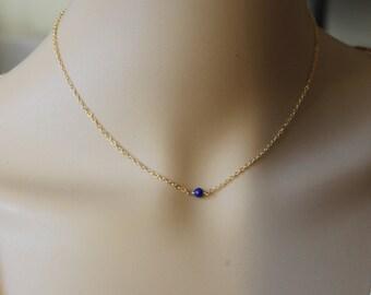 Single 4mm Natural Blue Lapis Lazuli necklace, 14K Gold filled, blue lapis necklace, September birthstone, Blue stone necklace