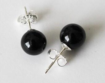 8 mm Pitch Black Onyx earring studs, black onyx studs, black studs, sterling silver, black stone studs