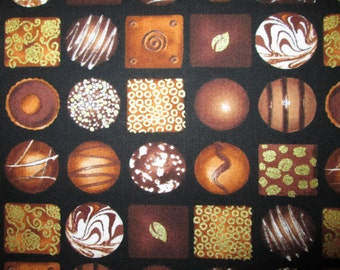 Chocolates Candy Boxed Candies Black Cotton Fabric Fat Quarter Custom Listing