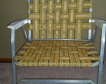 Vintage Aluminum Framed Gold Webbed Lawn Chair