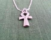 Silver Ankh Necklace. Silver Egyptian Cross  Pendant. Ankh Jewelry. Sterling Silver Necklace. Breath of Life. Key Of The Nile