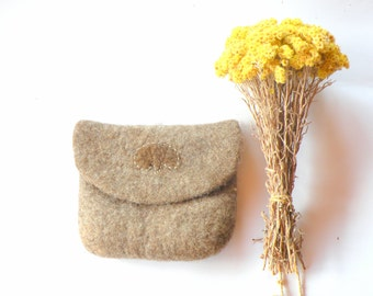 Hand Felted Wool cosmetic pouch in ethno style