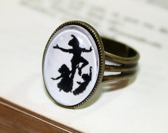 Flying to Dream Silhouette Ring bronzecolored - england fairy tale twin sister best friend daughter gift ring