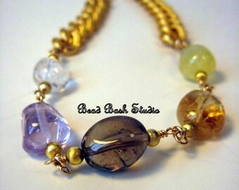 Quartz and Gold Statement Necklace- On Sale