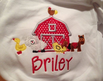 Barn & Animals Custom boutique appliqued monogrammed personalized, boys, girls, T-shirt, one piece w/snaps, valentines,