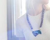 Verdigris & Aquamarine Patina Pendant Necklace w/ Knitted Bands - SALE!