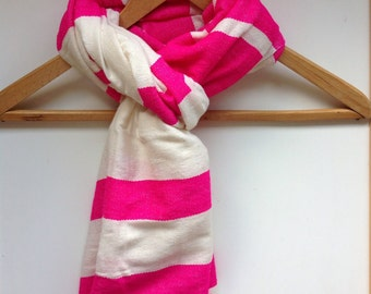 Fuchsia and Ivory striped scarf- fuschia scarves and wraps in wool and cotton blend- womens scarves wraps shawl- Ethiopian scarf - echarpe