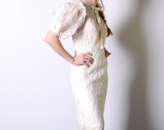 1930s sheer wedding dress - 30s ivory bias cut mermaid brdial gown - small