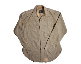 Men's Lauterstein's Uniform's of Distinction Khaki Dress Shirt Military Scout Long Sleeve Button UP size  Medium