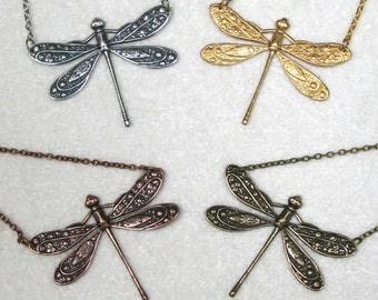 Victorian Stylized Dragonfly Necklace, Gold Silver Copper Brass