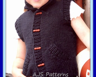 PDF Knitting Pattern for a Child's Chunky Knit Gilet - Instant Download
