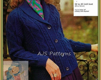 PDF Knitting Pattern for a Ladies Roll Collared Aran Jacket or Cardigan - Instant Download