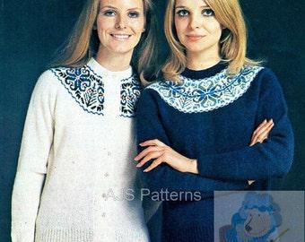 PDF Knitting Pattern -  Ladies Fair Isle Yoked Jumper and Cardigan - Instant Download