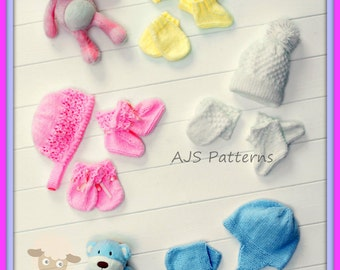 PDF Knitting Pattern for Babies Hats, Mittens and Bootees - Instant Download