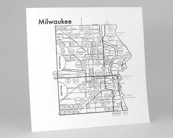 "Milwaukee Map 17.5"" x 17.5"" Screenprint. Beautiful Minimalist Simple Graphic Neighborhood Art Print. Cool Travel Poster Design."