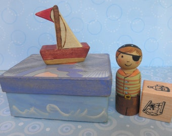 Wood Toy Set- Peg Doll CAPTAIN PIRATE in a Box- Sailboat and Story Dice-Pretend Play Waldorf Inspired