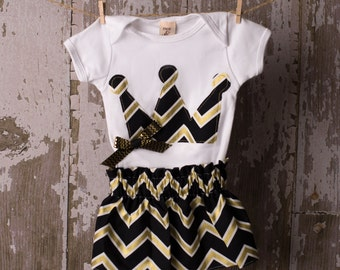 Black and gold Crown shirt or bodysuit with matching skirt  Any Size newborn to 24 months Bodysuit or shirt size 2 4 or 6